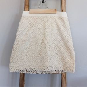 J. Crew Ivory Lace Skirt
